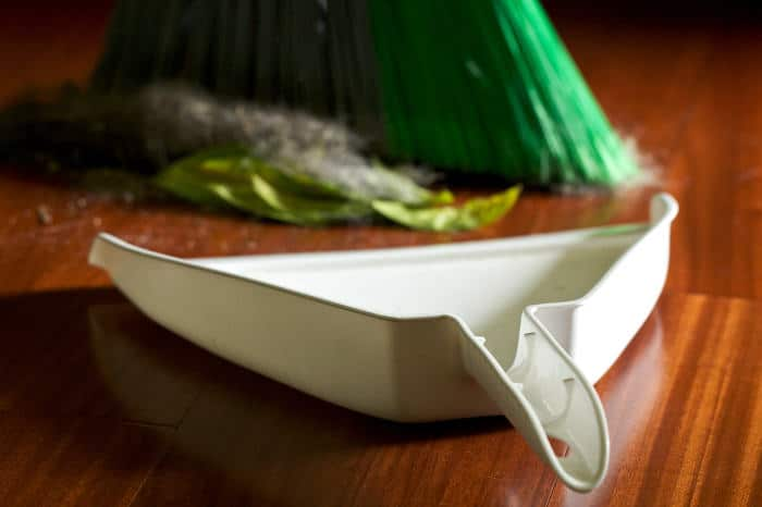 Cleaning With Dustpan and Broom